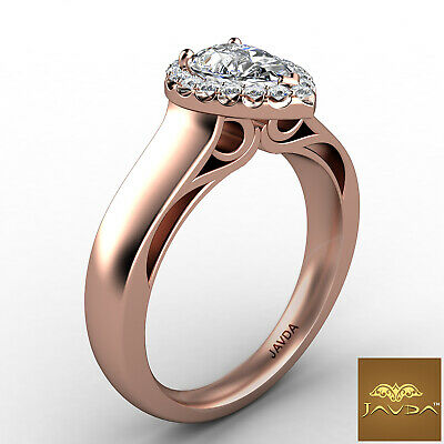Halo Pave Set Womens Pear Diamond Engagement Ring Certified by GIA F VVS2 0.70Ct 10