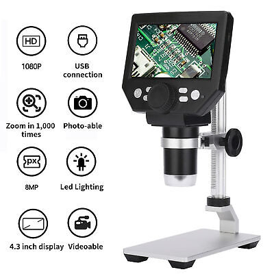 With Battery G1000 Digital Microscope 4.3 Lcd 8mp 1000x Zoom 1080p Hd Fhd F6t6