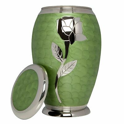 ADULT CREMATION URN - FUNERAL URN FOR HUMAN ASHES, GREEN, SILVER ROSE- VAULT 8306