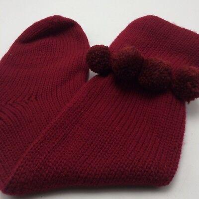 """Vtg Maroon Thick Knit 21"""" Xmas Stocking w 4 Pom Poms on Cuff Hang Tab"""