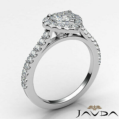 Halo French Pave Set Heart Diamond Engagement Wedding Ring GIA F Color VVS2 1Ct 7
