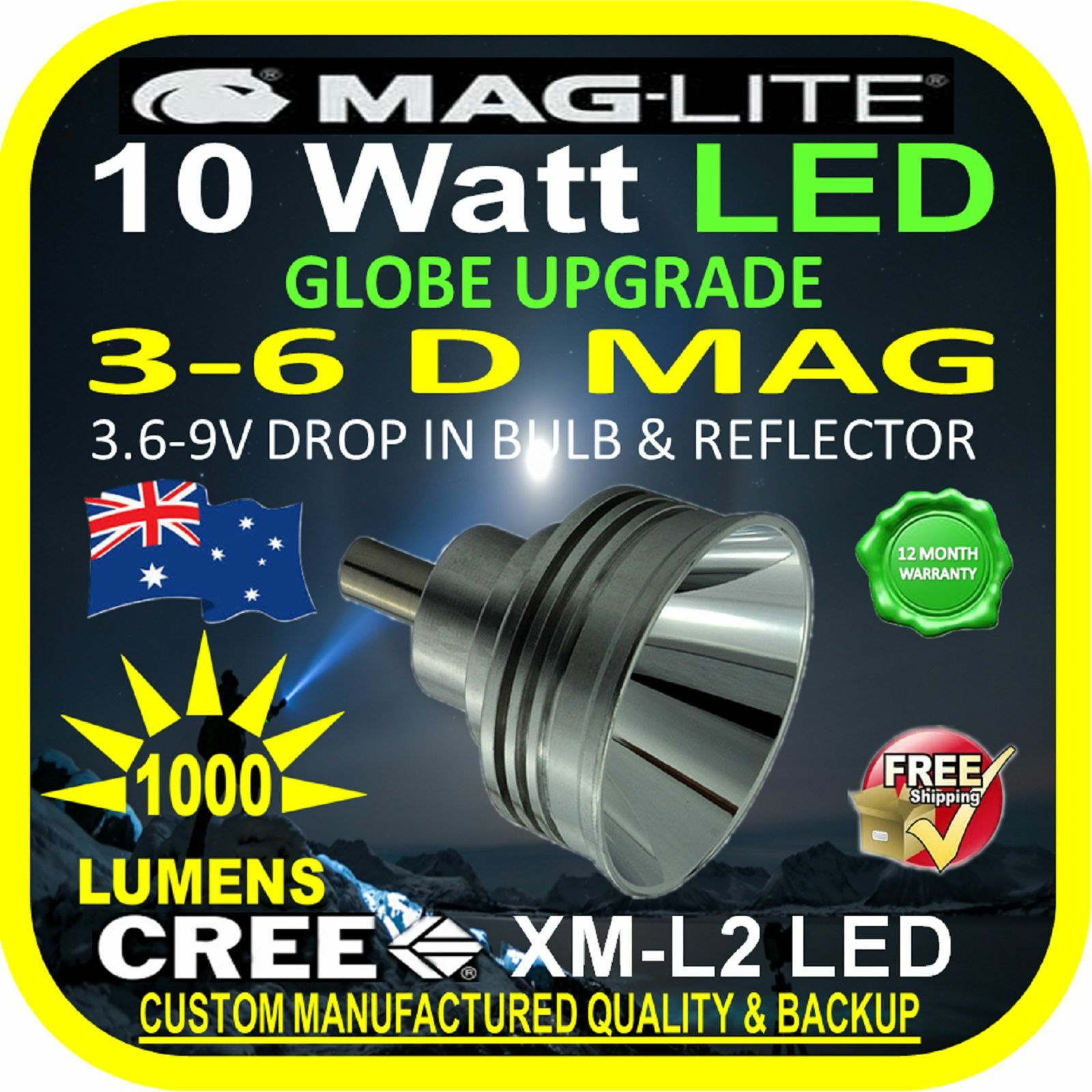 MAGLITE UPGRADE LED 3-6 D CREE 10W BULB GLOBE for TORCH FLAS