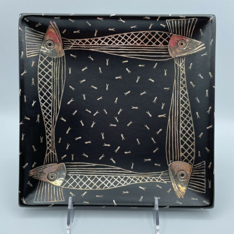 EMILIA CASTILLO 1995 WITH ETCHED SIGNATURE SILVER FISH HEAVY INLAID FOOTED TRAY
