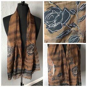 Art Of The Scarf Tie Rack Brown Bronze Shimmer Rose Floral Light Dressy Scarf