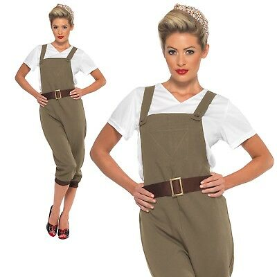 1940's Land Girl Costume Ladies WW2 Munitions Fancy Dress Army Outfit UK (1940's Land Girl Kostüm)