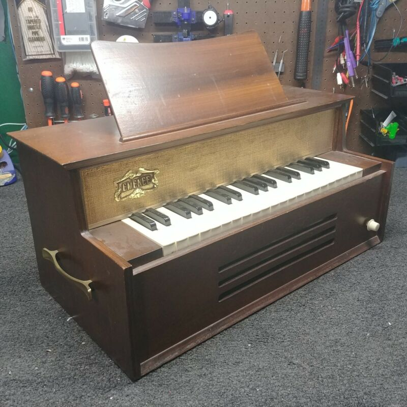 Vintage Emenee Wooden Chord Organ WORKING Gold Foil Musical