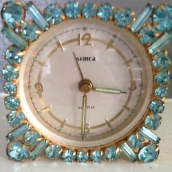 Vintage Square Light Blue  Rhinestone Jeweled  Jewels Gems Alarm Clock Beauty