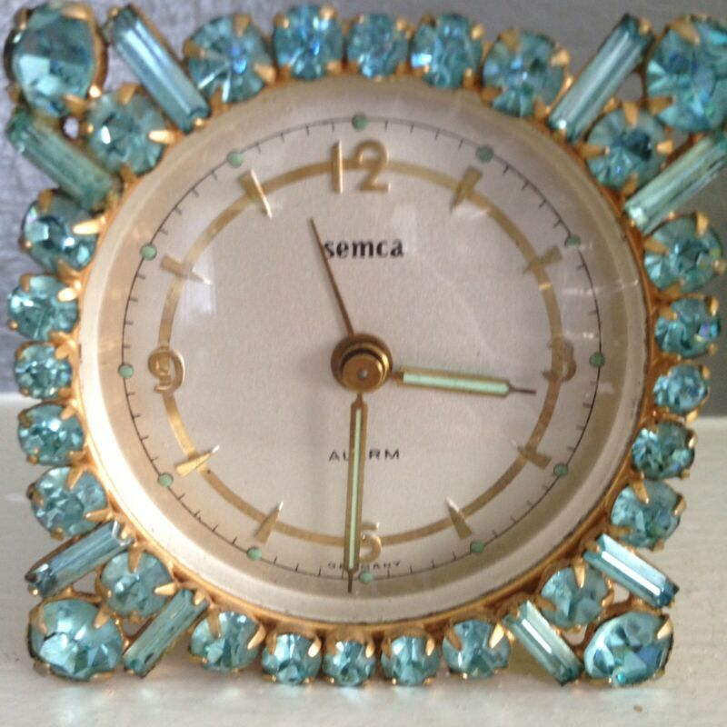Vintage Square Light Blue  Rhinestone Jeweled  Jewels Gems Alarm Clock Beauty