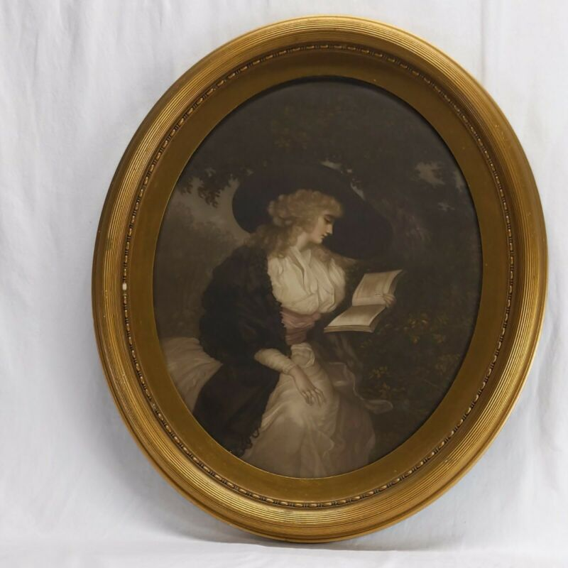 """Antique Gold Tone Oval Framed Victorian Art Print Woman Reading 22.5""""X27"""""""