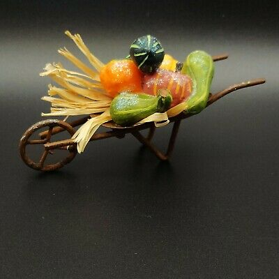 "Fall Decor - Full Fall Harvest in Metal Wheel Barrow Table Ornament 4.5""x 2"""