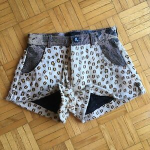 Leather Leopard and Snake Print Shorts