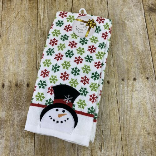 Ritz Kitchen Towels Snowman Snowflakes Set Of 2 Christmas Ho