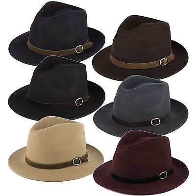 100% Wool Fedora Hat with Suede Belt Handmade in Italy](Suede Fedora)