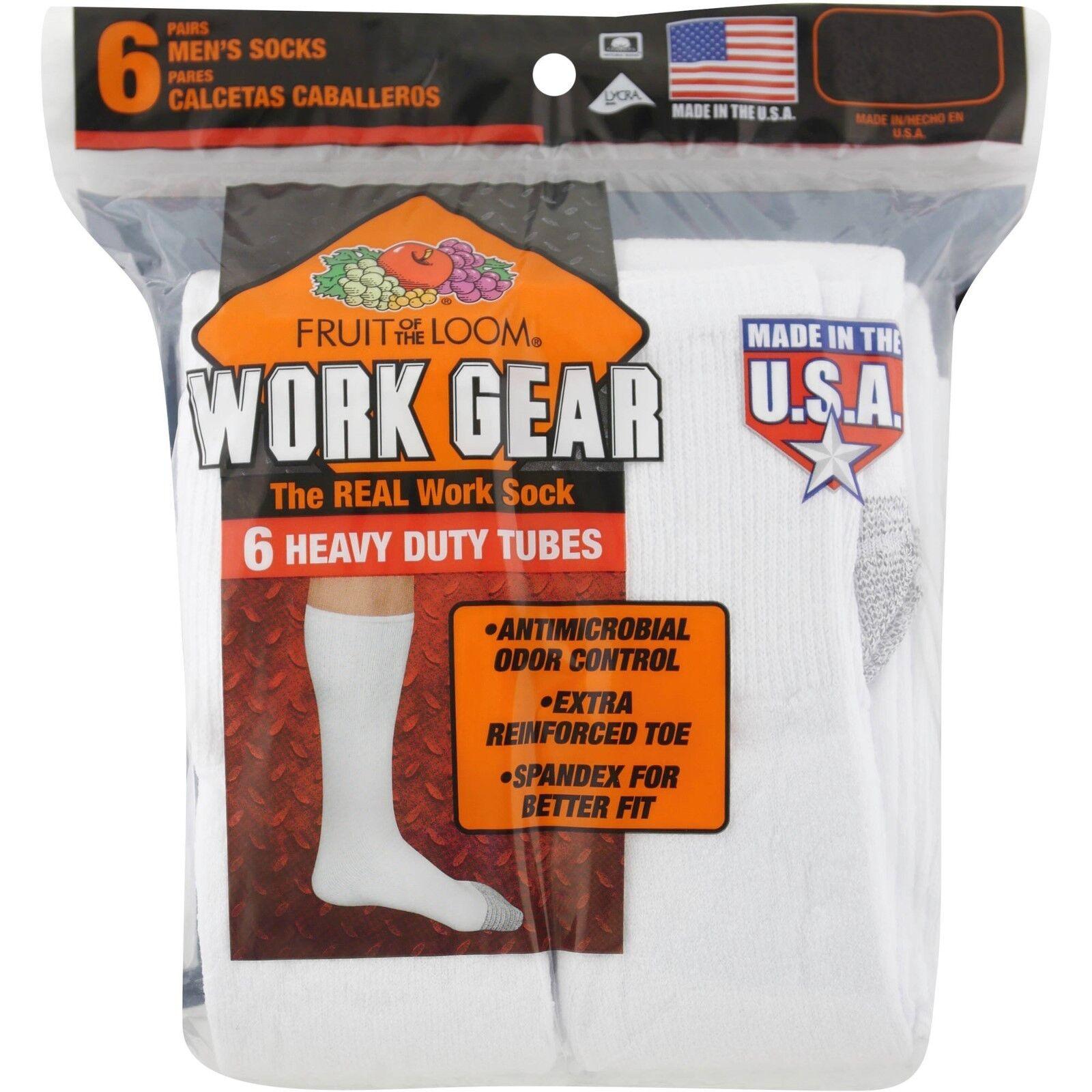 Fruit of the Loom Men's Work Gear Heavy Duty Tube Socks  Whi