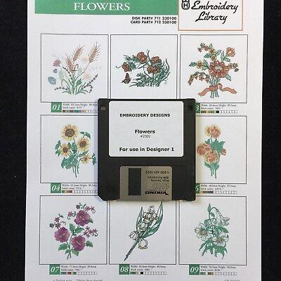 Flowers Embroidery Designs Disk / Floppy For Husqvarna Viking Designer 1