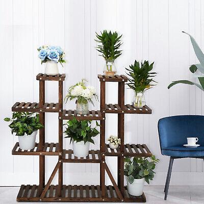 Wooden 9 Tier Wooden Plant Stand Shelf Carbonized Flower Pot Holder Display