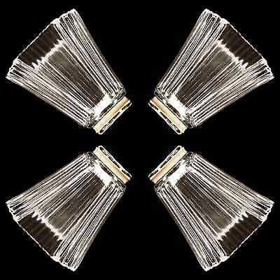 4X Glass Shades Vanity / Ceiling Fan Replacement Globes Square Pyramid _328-08 - Lamp Shades Ceiling Fans
