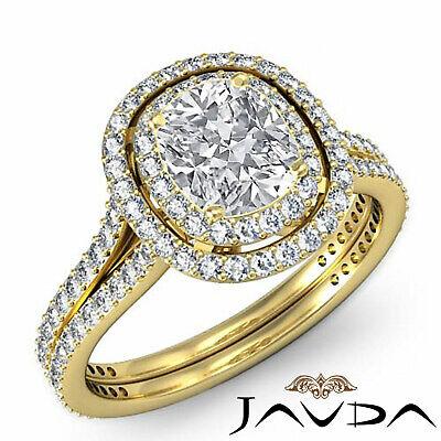 Cushion Diamond Engagement Antique Halo Ring GIA F SI1 14k White Gold 2.55 ct 6