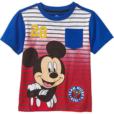 Blue Toddler T-shirt - Mickey Mouse Disney Toddler Boys Red/Blue Graphic Short Sleeve T-Shirts: 2T-4T