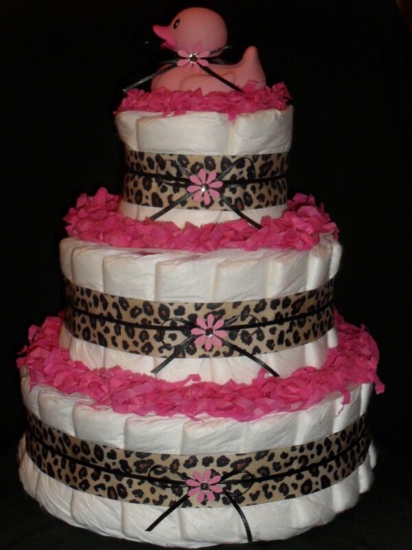 Pink & Leopard Spots Animal Theme Baby Shower Diapercake