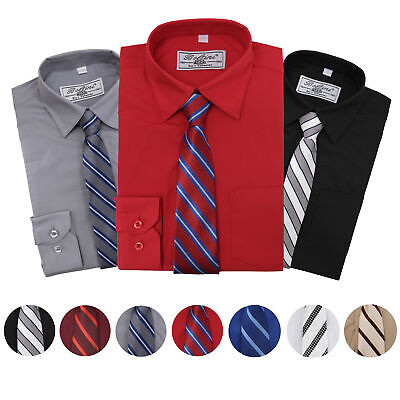 Boltini Italy Boys Kids Toddlers Long Sleeve Dress Shirt Set with Matching Tie ()
