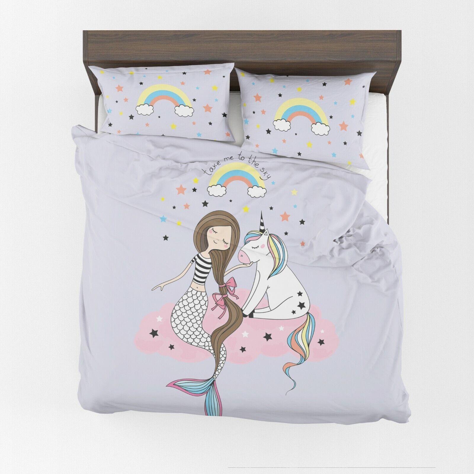 Mermaid unicorn Duvet Cover or Comforter girls lavender bedd