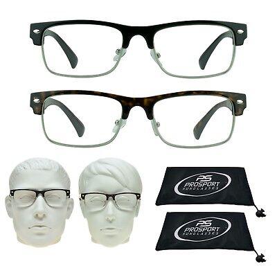 2 PAIRS Reading Glasses Horn Rimmed JFK Readers Cheaters 1.0 1.5 2.0 2.5 3.5 - Horned Rimmed Glasses