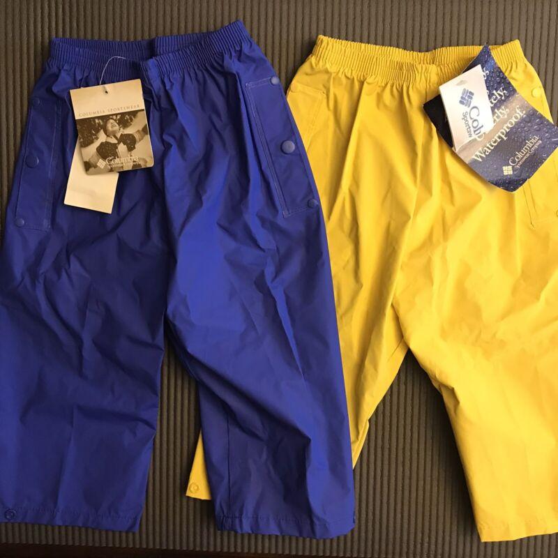 Lot: 2 NEW Columbia IBEX Youth XXS 3T 4T Rain Pants Kids Waterproof Yellow Blue