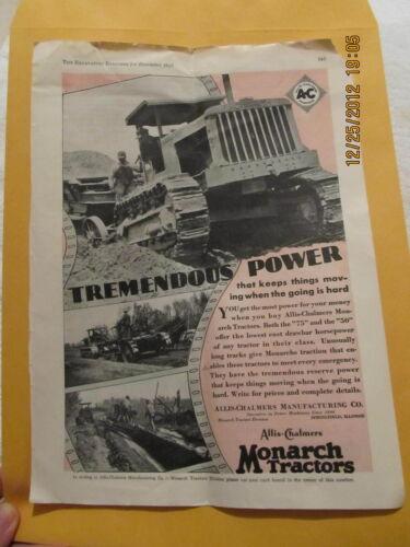 1929 Ad Allis-Chalmers Monarch Tractors Springfield Excavating Engineer Magazine