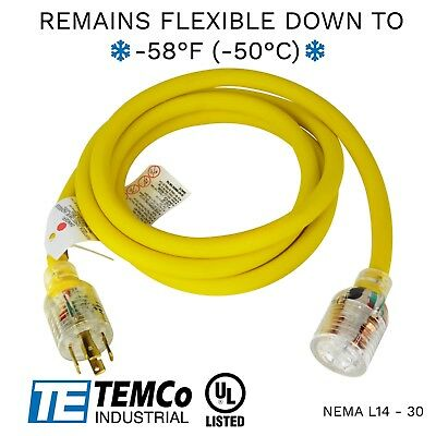 Temco 10ft Cold Weather Generator Cord Yellow Nema L14-30 125250v 30a Ul