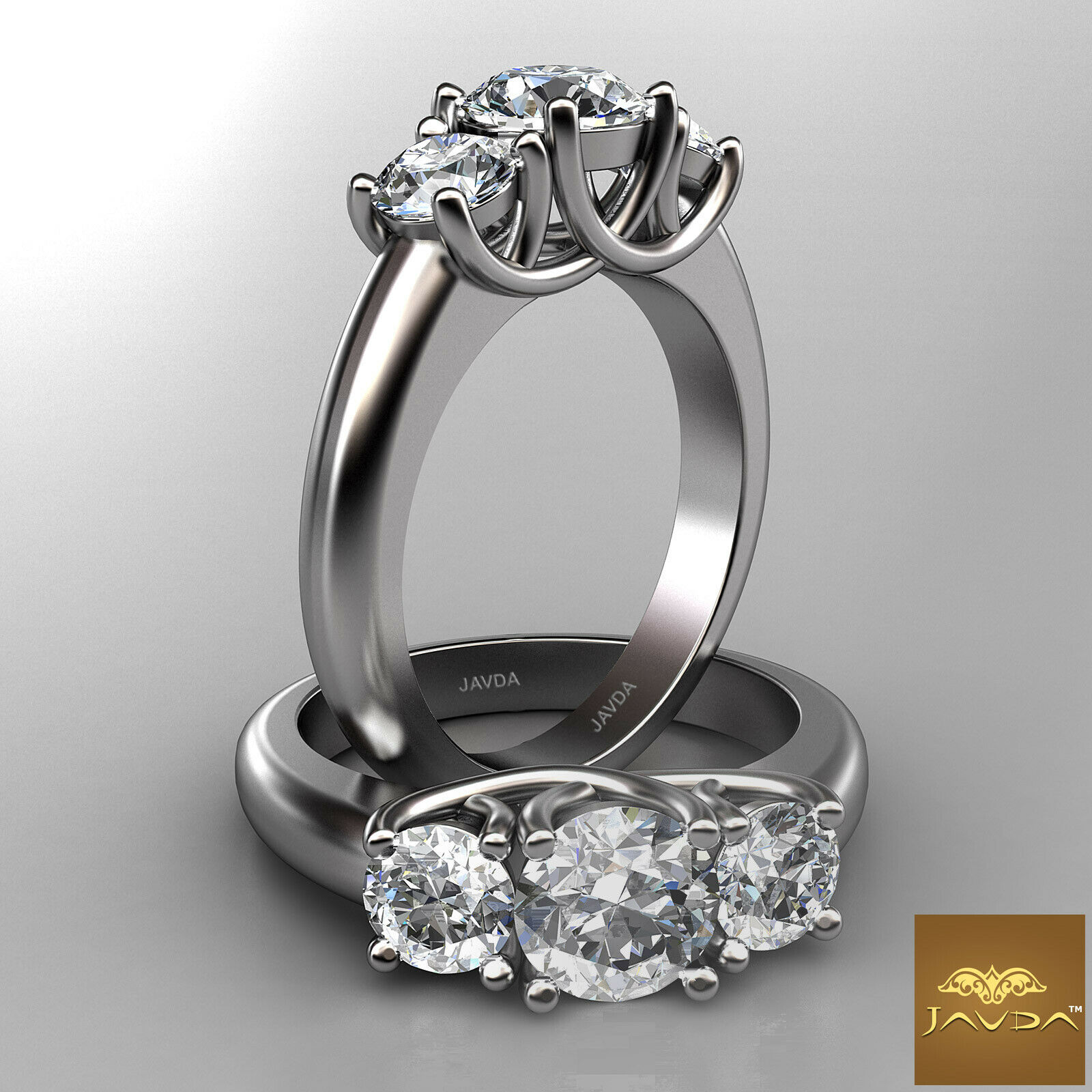 2.3ct Brilliant Round Diamond 3 Stone GIA F VS1 Platinum Javda Engagement Ring