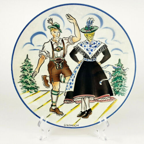 "Vintage Garmisch Waechtersbach Plate Hand Painted Germany 8"""