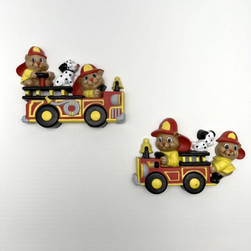2 Vintage kids firefighter firetruck dalmatian dogs Home Interior wall decor 2
