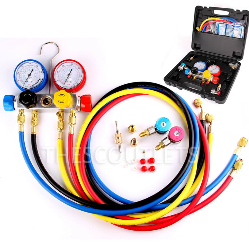 "4 Way AC Manifold Gauge Set R410a R22 R134a w/Hoses Coupler Adapters + 1/2"" ACME"