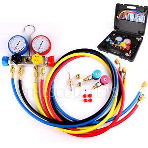 4 Way AC Manifold Gauge Set R410a R22 R134a w/Hoses Coupler Adapters + 1/2