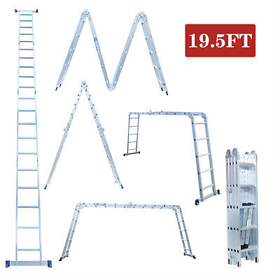 19.5ft Multi-position Aluminium Ladder Telescoping Extension Folding Step Ladder