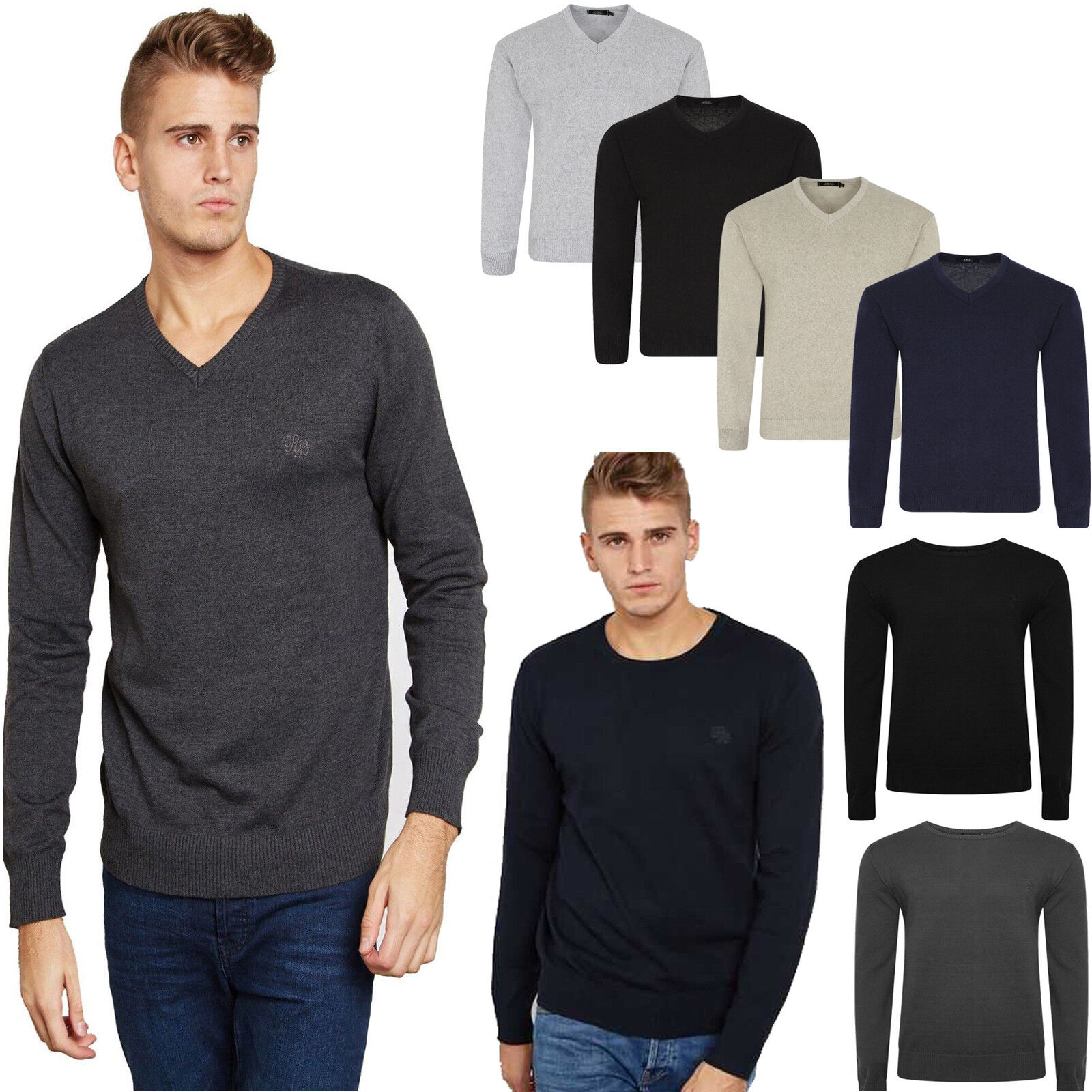 fb53e0a0 NEW MENS V NECK JUMPER PULL OVER LONG SLEEVE PLAIN SOFT KNITTED BIG PLUS  SIZE