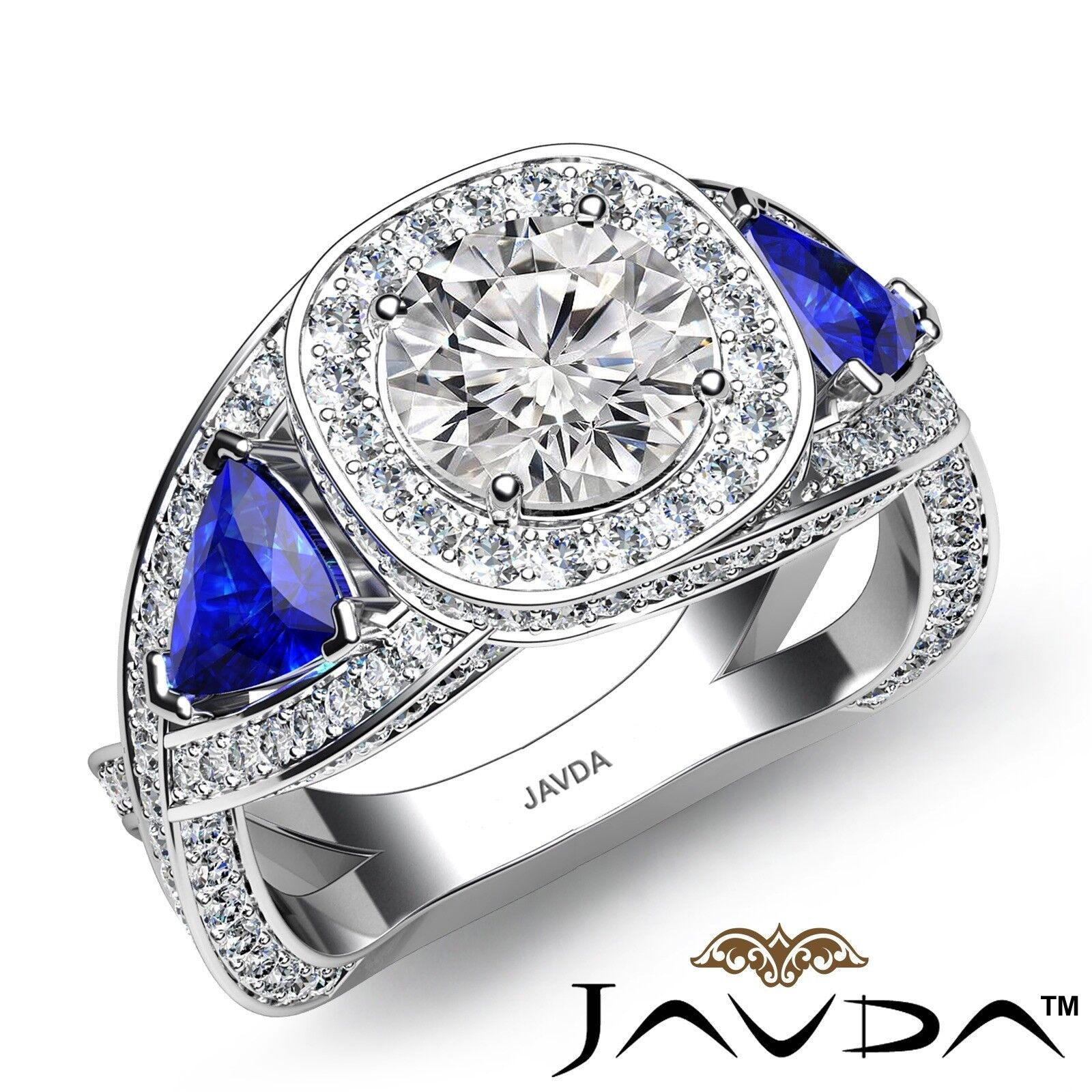 3.01ctw halo Side sapphire triangle Round Diamond Engagement Ring GIA E-VS1 Gold