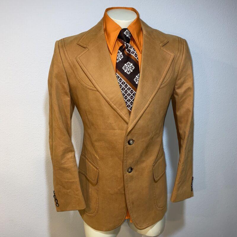 Vtg 60s 70s WESTERN Blazer Suit Jacket COTTON Disco Hippie Cowboy Coat MENS 42