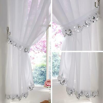 curtains - Jewelled Voile Curtain Crystal Sparkle Bling Panels Ready Made Slot Top Curtains