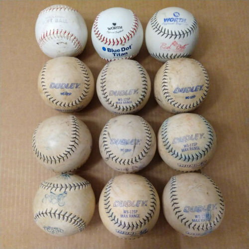 Lot Of 12 Used Dudley Thunder, Worth, DeBeer Slow Pitch White Softballs