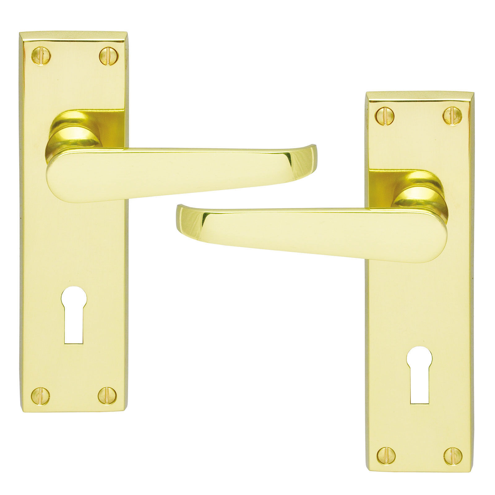 Lever Lock Door Handles Pair Brass Finish Domestic Commercial Use