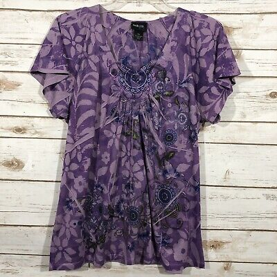 STYLE & CO Womens Tops And Blouses  Floral Print V Neck Cap Sleeve Tunic