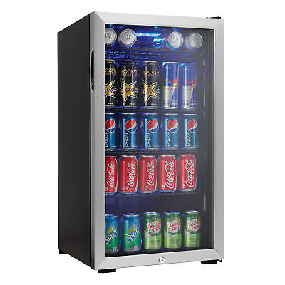 Danby 120 Can Beverage Center Soda Beer Bar Mini Fridge Cooler, Stainless Grit one's teeth
