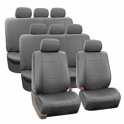 Gray Scant PU Leather 8Seater 3 Row Full Set Seat Covers Split Bench Auto