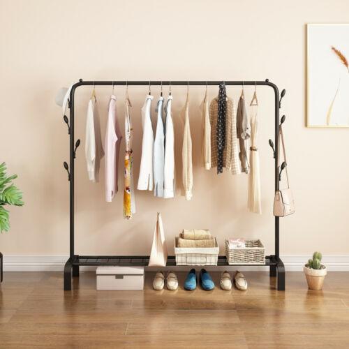 Closet Organizer Metal Garment Rack Portable Clothes Hanger Storage Shoes Rack-2