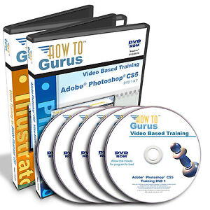 New Adobe PHOTOSHOP CS5 and ILLUSTRATOR CS5 Tutorial Training 43 hours on 5 DVDs
