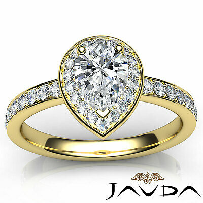 Cathedral Halo Pave Set Pear Cut Diamond Engagement Ring GIA Color F VS1 1.17Ct 10
