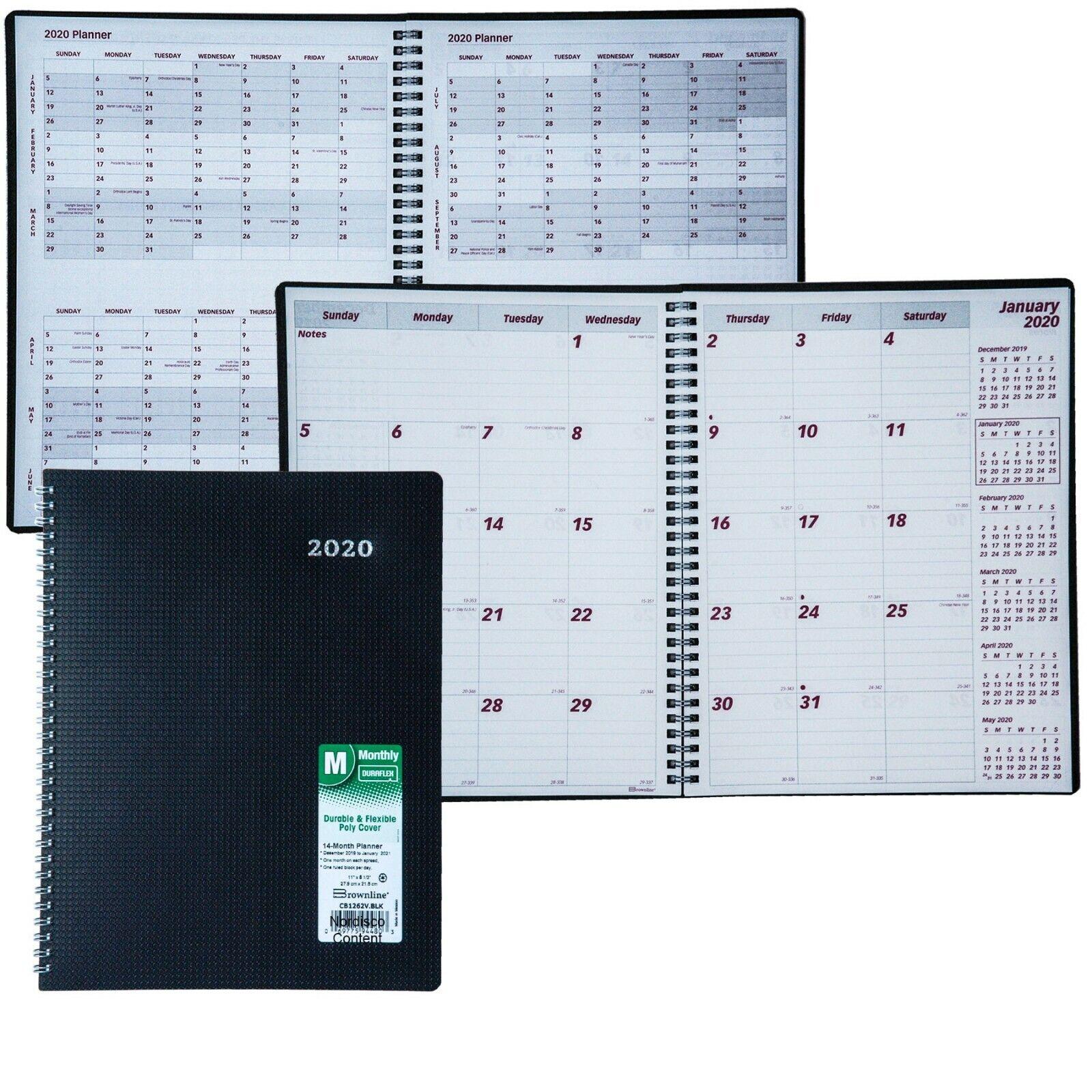 2020 Brownline CB1262V.BLK Duraflex Monthly Planner, 8-1/2 x
