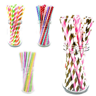 25x Retro PAPER STRAWS Biodegradable Vintage Party Birthday Christmas - Paper Christmas Tableware